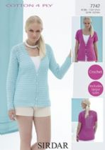 Sirdar Cotton 4ply - 7747 Cardigans Crochet Pattern